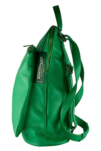 BORDERLINE - 100% Made in Italy - Borsa Zaino in Vera Pelle - BEATRICE Verde