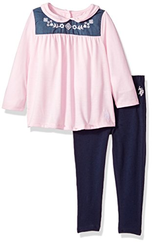 U.S. Polo Assn. Toddler Girls' Fashion Top and Legging Set, Baby Pink-7001, 2T (Baby Us Polo)