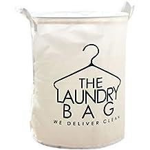 YOUJIA Cestas plegable para la Colada con Asas Cajas Grande de Almacenaje Cesto de ropa sucia Organizador para misceláneas (Laundry Blanco, 35*45 cm)