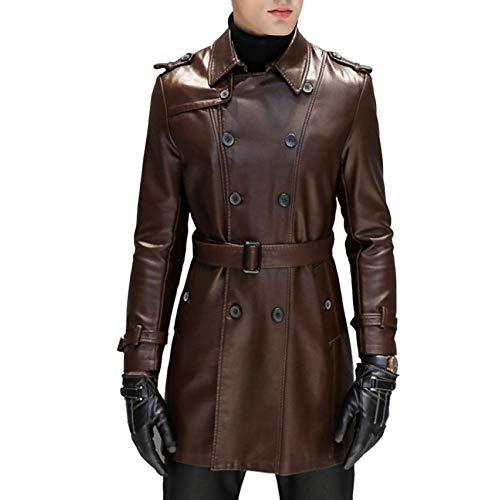Leder Windjacke Slim Fit Jacke Klassische Trenchcoat Business Casual Wear,Brown-L ()