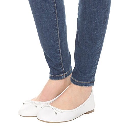 Guoar Damen Flache Große Größe Schuhe Rutsch Mehrfarbig Bowknot Ballerinas Weiß