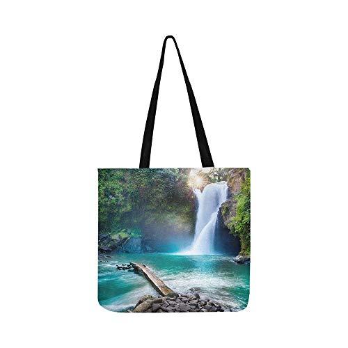 Wasserfall Versteckte Tropische Dschungel Leinwand Tote Handtasche Schultertasche Crossbody Taschen Geldbörsen Für Männer Und Frauen Einkaufstasche