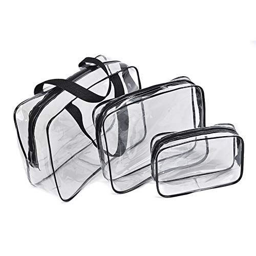 Mayyou 3pcs Clear Toiletry Bag mit Zipper Travel Gepäck Pouch Carry On Clear Compliant Cosmetic Makeup Bags (Carry On Travel Bag)