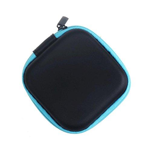 Beats Blau Pink Und (Fulltime® Kunstleder Platz kopfhörer-Tasche Schutztasche Mini Zipper Praktische Tragetasche für In-Ear Kopfhörer Ohrhörer mit SD Card Speicher (Blau))