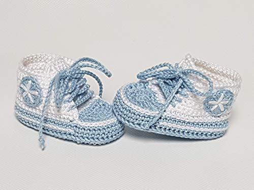 Babyschuhe gehäkelt-Sneakers-weiß/babyblau-Turnschuhe-Sportschuhe-Krabbelschuhe