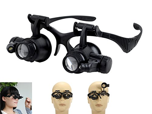 Sumchimamzuk LED Lupenbrille mit 3 verschiedenen Wechselglaeser 10x Fach, 15x Fach, 20x Fach, 25x Fach