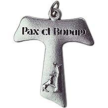 3d699ab0aa1 Eurofusioni San Francisco de Asis Tau Cruz Pax et Bonum - Colgante chapeada  Plata - h