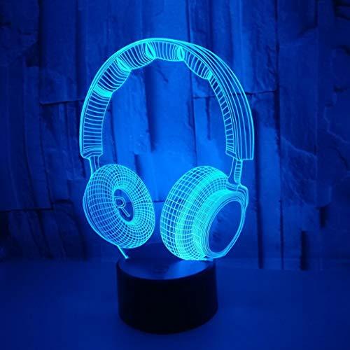YLSE-night light Lampe KopfhöRer, Der Nachtlicht 3D / GefüHrte Helle Illusions-Acryl-Panel-Abs-Basis-USB-Datenkabel-Bunte Noten-Fernsteuerungs-Schreibtisch GIF