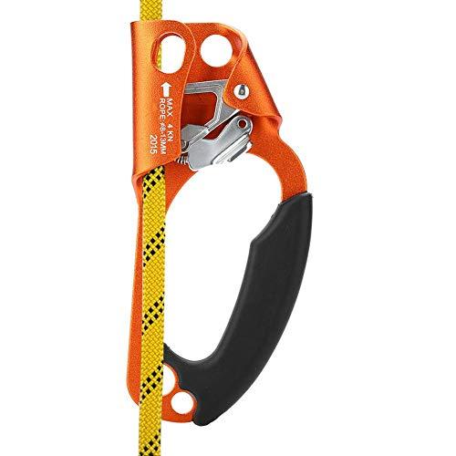 Dioche Klettern Ascender, Klettern Gerät Rechte Hand Kletterseil Griff Clamp für 8mm-13mm Seil Klettern Ausrüstung(Orange)