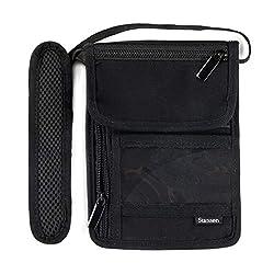Stansøn® Brustbeutel, Brusttasche aus Canvas | Reiseorganizer für Damen & Herren mit & RFID Schutz Blocker | Reisedokumententasche, Reisegeldbeutel, Umhängegeldbeutel für Handy & Reisepass (Schwarz)