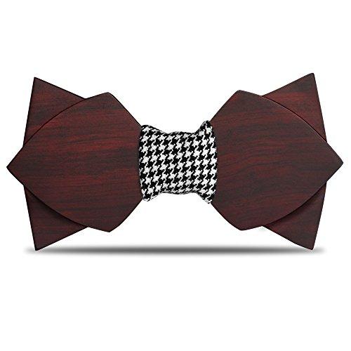Preisvergleich Produktbild Wood Bow Krawatten, Männer Pre gebunden, hölzernen Bogen Krawatte einzigartige Designs Hybrid Holz Bowtie verstellbar Herren Hochzeit Solid Krawatte Farbe Krawatte für Anzug Kleidung Accessoires (Dual