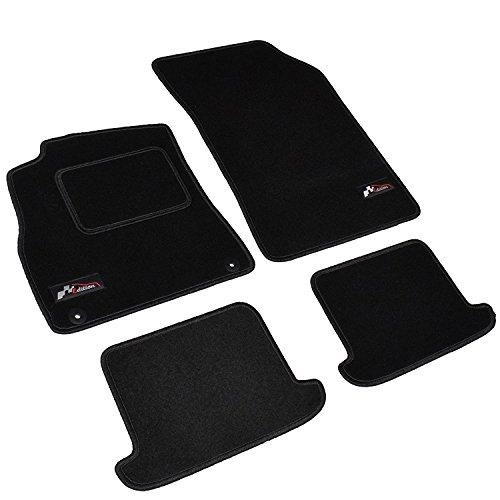 AME - Auto-Fußmatten Velours mit schwarzer Kettelung, Sport Logo und eingearbeiteter Trittschutz inkl. runde Befestigungen 3879BKL