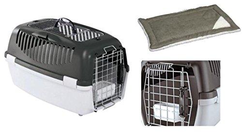 Flugtaugliche Transportbox IATA komplett mit Tragegriff Napf und Einlage für Katzen Hunde