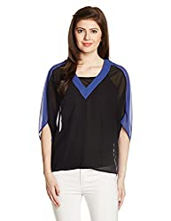 UCB Womens Button Down Shirt (15A5GR1E9338I901_Black and Blue_M)