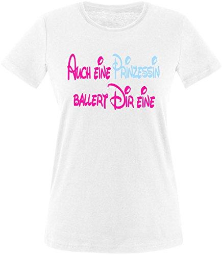 Luckja Auch eine Prinzessin ballert dir eine Damen Rundhals T-Shirt Weiß/Pink/Hellbl