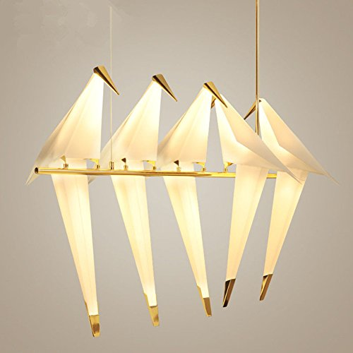 Modern Creative Bird Chandelier LED Warm Light 5 Paper Cranes Adjustable  Position Chandelier Suitable For Guest