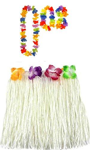Damen Hawaiian Hula 40cm oder 80cm lang Hula Rock & Lei Hula Halskette Armband Fancy Dress Set Hochzeit Henne Nacht (Einheitsgröße, Weiß (40cm))
