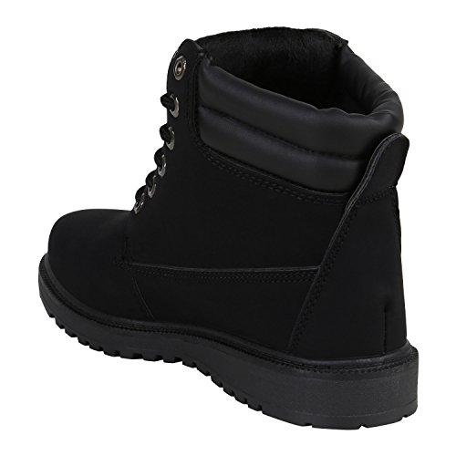Stiefelparadies Herren Worker Boots Outdoor Schuhe Warm Gefüttert Profil Sohle Flandell Schwarz Carlet