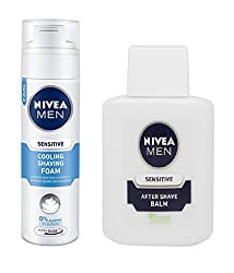 NIVEA MEN Sensitive Cooling Shaving Foam 200ml + Nivea for Men Sensitive After Shave Balm - 100 ml