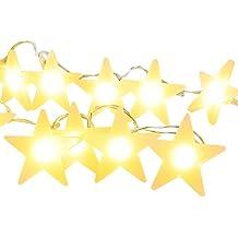 CMYK - Guirnalda luminosa de bombillas decorativas de luz LED blanca cálida de (20 ledes, requiere pilas)