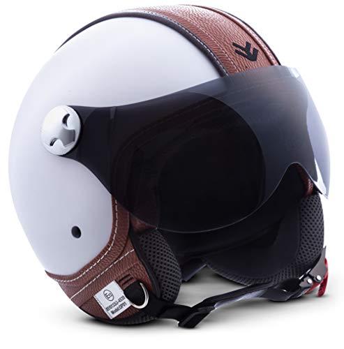 Armor · AV-84 'Vintage Deluxe White' (white) · Casco Demi Jet · Scooter Helmet Moto Piloto Motocicletta Urbano · ECE certificato · Visor · Click-n-SecureTM Clip · Borsa per il trasporto · L (59-60cm)