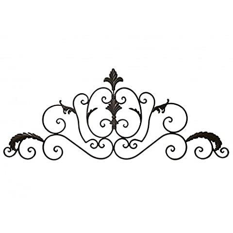 Decorative Baroque Style Wall Fronton Over Door or Wall to hang Iron Antique Brown 1x41x102cm