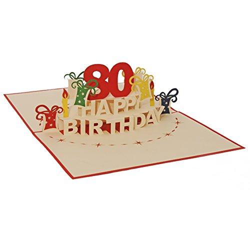 Favour Pop Up Glückwunschkarte zum runden 80. Geburtstag. Ein filigranes Kunstwerk, das sich beim Öffnen als Geburtstagstorte entfaltet. ALTA80R