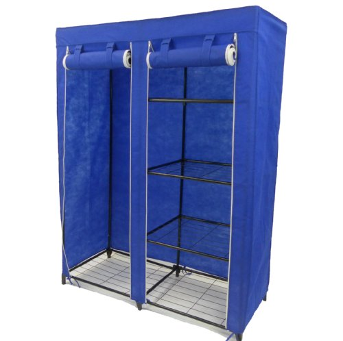 Blue Non Woven Double Bedroom Furniture Portable Storage Wardrobe Cupboard with 4 SHELVES