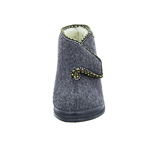Intermax Chaussons bottes pour femme avec fermeture Velcro, doublure en laine vierge, feutre anthracite Noir - Anthracite