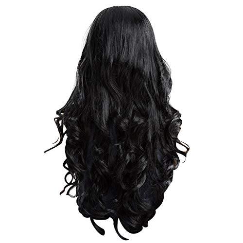 Damen Perücken ZYUEER Wigs Perücke Schwarze Frauen Sexy Wellig Lange Mode Synthetische Haar Schwarze Natürliche Lockige Kostüm Haare