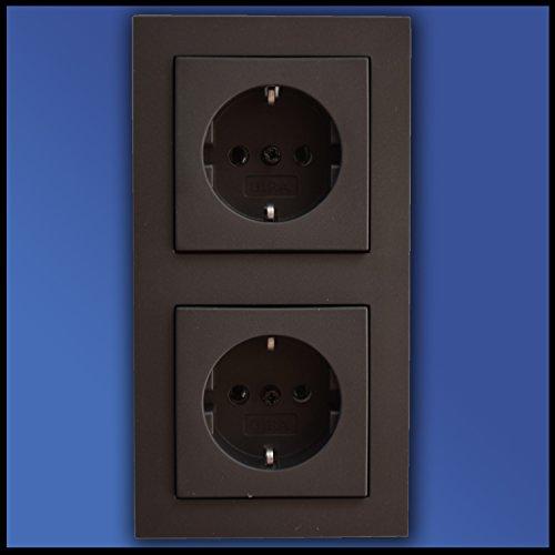Preisvergleich Produktbild GIRA Komplett Set 2fach Rahmen - 2 x SCHUKO Steckdose - Farbe/Form (Standard 55/E2) wählbar - 2x SCHUKO Steckdose 018828 + Rahmen 021223