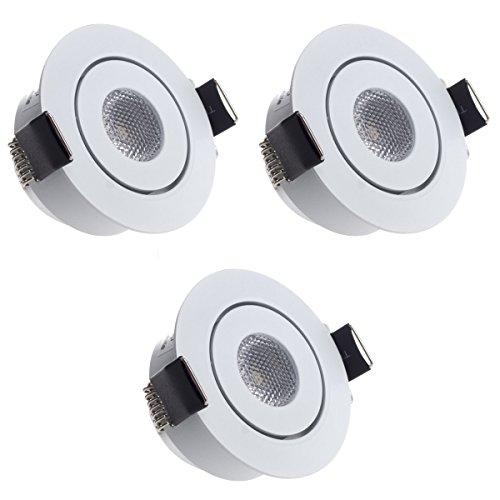 Sensati Kleine flache Miniatur LED Einbauleuchte flacher Downlight Spot Set zu 3 Stück, schwenkbar, dimmbar, 630 lm, inklusive Treiber, Gehäusefarbe weiß, kaltweiß T096 3 CW W -