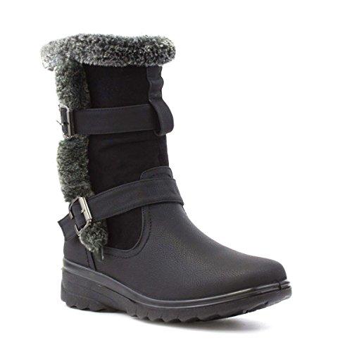 Cushion Walk Womens Black Fur Trim Casual Boot - Size 5 UK...