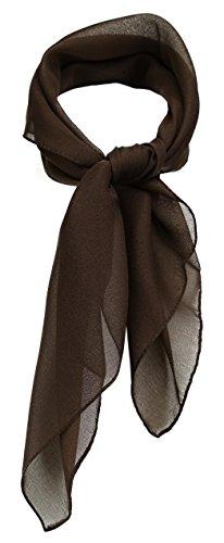 TigerTie Feines Damen Chiffon Nickituch in dunkelbraun einfarbig Uni - Größe 58 cm x 58 cm - Tuch Halstuch Schal
