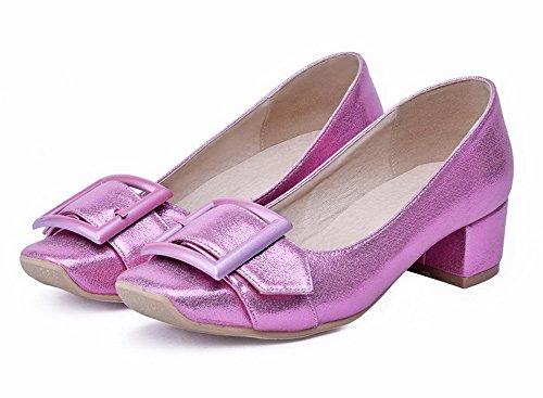 VogueZone009 Damen Ziehen Auf Quadratisch Zehe Mittler Absatz Rein Pumps Schuhe Lila