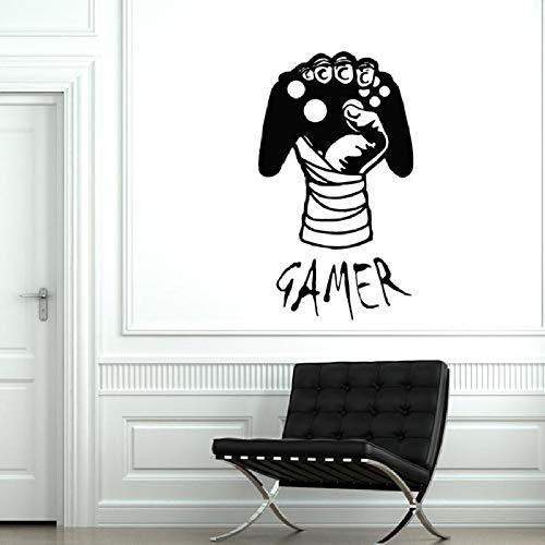 Gamer Wandtattoo Gaming Joysticks Computer Gamer Decals Kinder Jungen Schlafzimmer Spielzimmer Dekoration Vinyl Wandaufkleber Kunst 42X72 cm (Kinder-spielzimmer Decals)