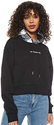 Calvin Klein Jeans Women's Buffalo Check Hood Crop Hoodie Heavyweight K