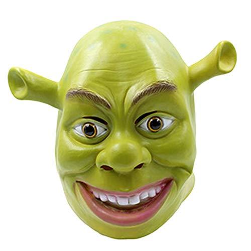 nihiug Halloween Horror Latex Cosplay Shrek Maske Maskerade Film Thema Perücke,Green-OneSize (Halloween Shrek Film)