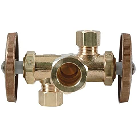 BRASS CRAFT SERVICE PARTS - Brass Dual-Handle Shut-Off Stop Valve, 5/8-In. x 3/8-In. x 3/8-In.