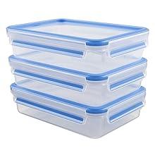 Emsa 515645 Clip & Close 3-piece set of food storage containers, 1.2 litre, transparent/blue