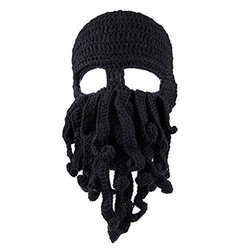 Prettyia Lustige Hüte Wintermütze mit Bart Bartmütze Strickmütze Krake Kostüm - Schwarz