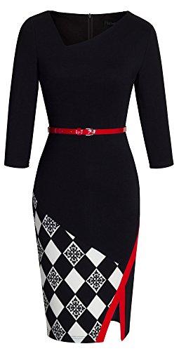 HOMEYEE Damen Ohne Arm Asymmetrische V-Ausschnitt Belted Enges Kleid B290 (EU 38 (Herstellergroesse: M), Schwarz + Grid - 3/4 Ärmel)