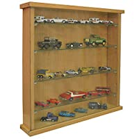 WATSONS COLLECTORS - Wall Display Cabinet With Four Glass Shelves - Oak