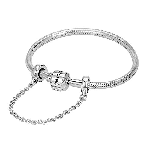 Tinysand, braccialetto con charm in argento sterling 925, catena snake, con gancio di sicurezza, compatibile con charm stile pandora, braccialetti di tipo europeo, perfetta idea regalo