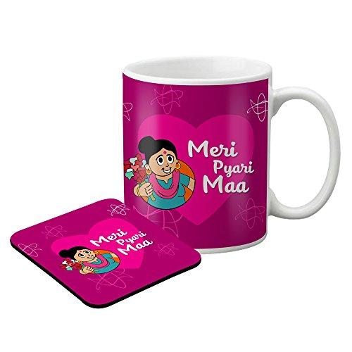 LOF Gifts For Meri Pyari Maa Gifts For Mother's Day Graphics Printed Coaster and Mug Combo  available at amazon for Rs.399