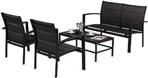 Ensemble Modulo 4 places canapé fauteuils table basse alu textilène noir