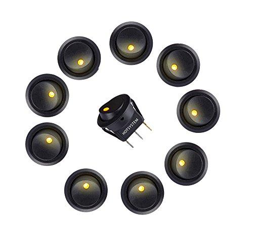 to KFZ Runder Schalter Wippschalter Ein-Ausschalter mit gebler LED Anzeige Wechsel Switch Kippenschalter 10 Stück ()