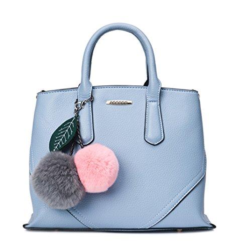 Keshi Pu Cool Damen Handtaschen, Hobo-Bags, Schultertaschen, Beutel, Beuteltaschen, Trend-Bags, Velours, Veloursleder, Wildleder, Tasche Blue Grau
