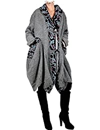 Damen Patchwork Wolle Lagenlook Wintermantel Mantel Swinger Ballon Trench  Coat 44 46 48 L XL XXL f95f2fbcbb