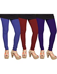 CAY 100% Cotton Combo of Purple, Blue and Maroon Color Plain, Stylish & Most Comfortable Leggings For Girls & Women with Full Length (SIZE : Free Size)